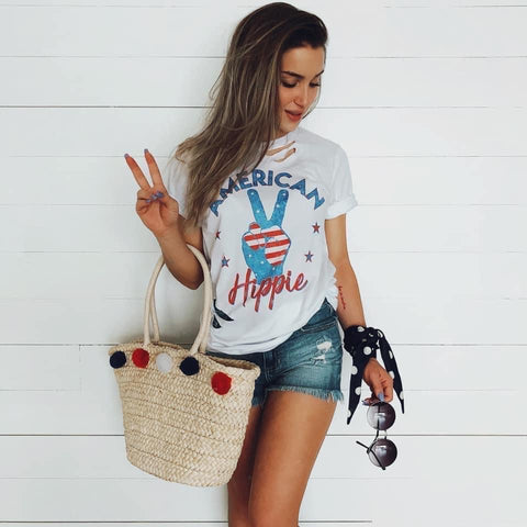 American Hippie Distressed Tee (PRE-ORDER) - This & That Boutique Shop