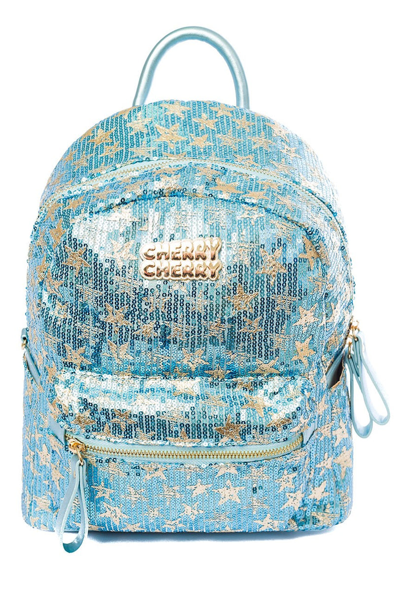 Isabella Star Sequin Backpack - Cherry Cherry