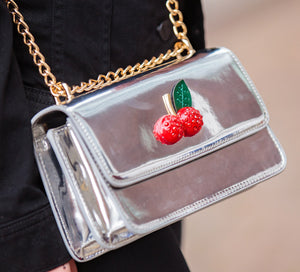 Katie Metallic Cherry Cross Over Bag - Cherry Cherry