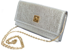 Tauri silver textured clutch purse with chain - Cherry Cherry