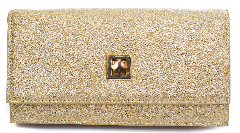 Amiee gold textured clutch purse with chain - Cherry Cherry