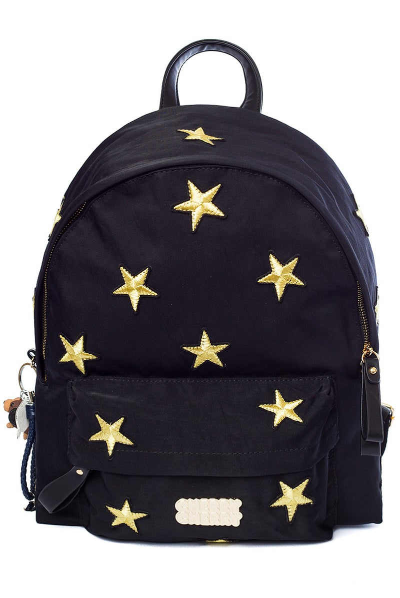 Daisy Star Embroidered Backpack - Cherry Cherry