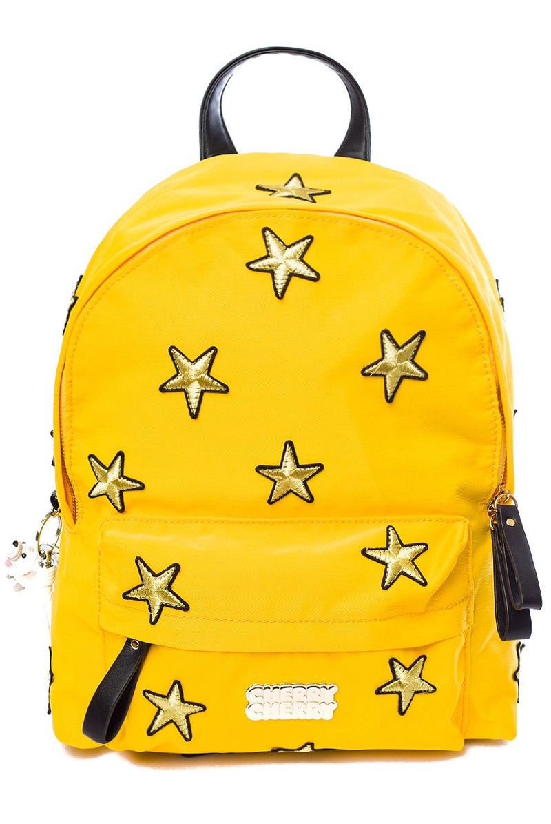 Mia Star Embroidered Backpack - Cherry Cherry