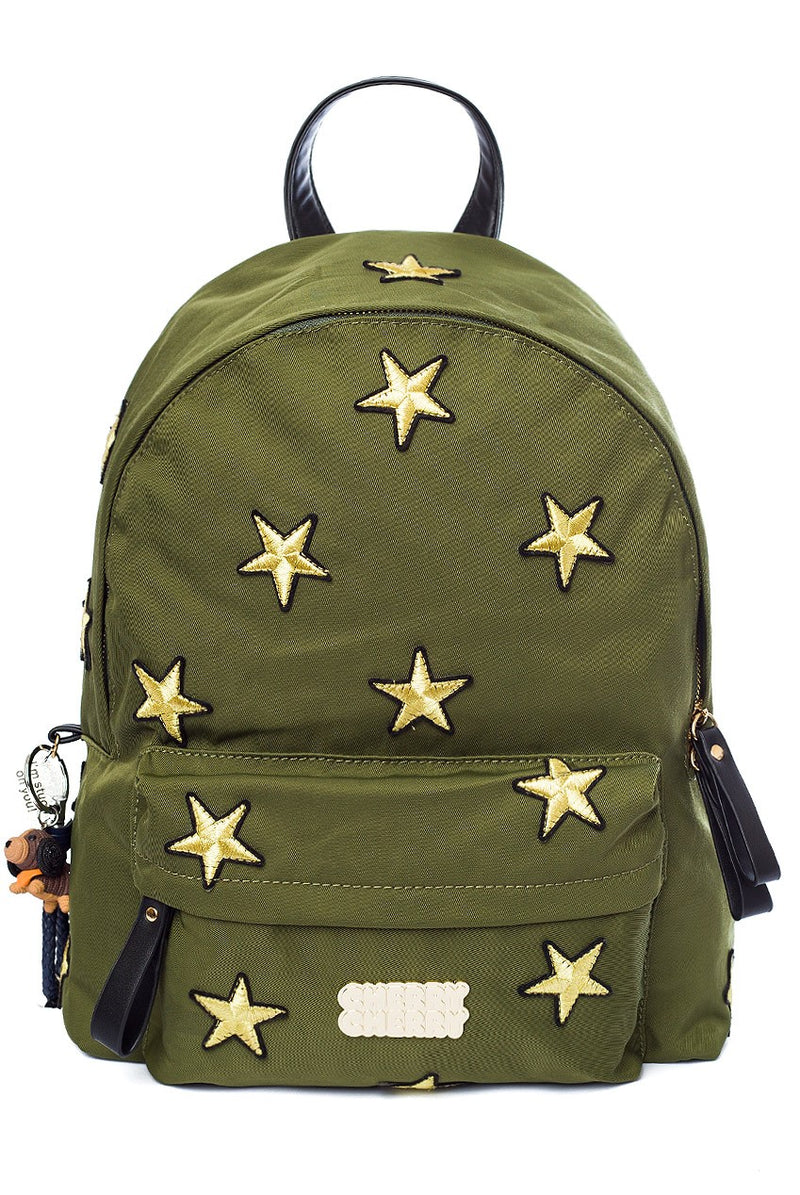 Amelia Star Embroidered Backpack - Cherry Cherry