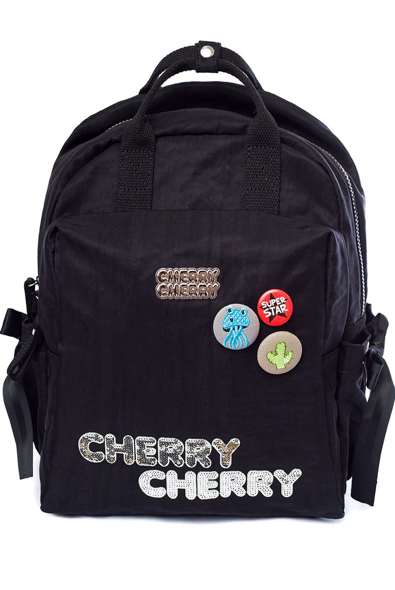Betty Black Backpack - Cherry Cherry