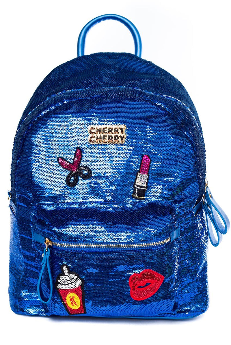 Sophia Metallic Blue Sequin Badge Backpack - Cherry Cherry