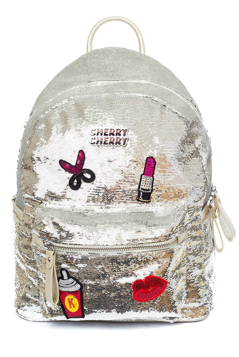 Olivia Silver Sequin Badge Backpack - Cherry Cherry