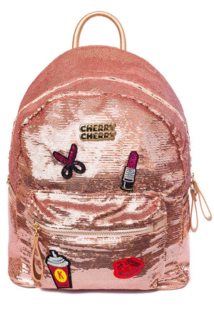 Jasmine Champagne Sequin Badge Backpack - Cherry Cherry