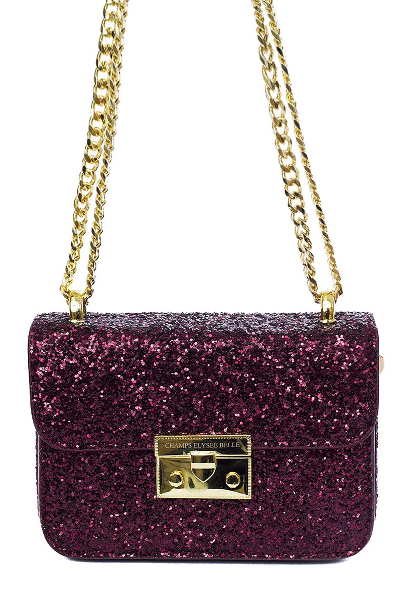Charlotte Glitter Classic Cross Over Bag - Cherry Cherry