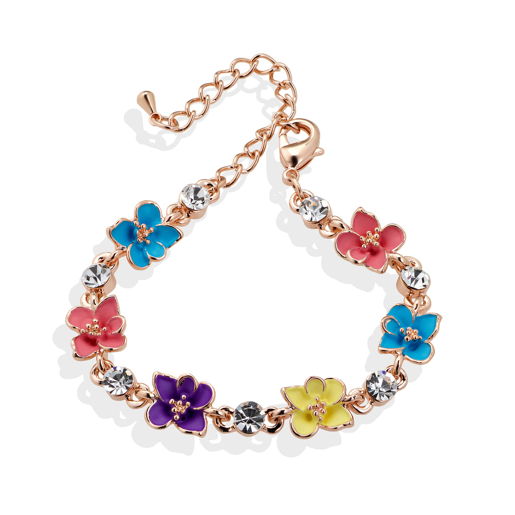 Multicolour Flower Bracelet in Rose Gold - Cherry Cherry