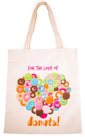 For The Love Of Donuts Tote Bag With Zipper - Cherry Cherry