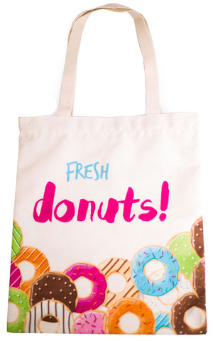 Fresh Donuts Tote Bag With Zipper - Cherry Cherry