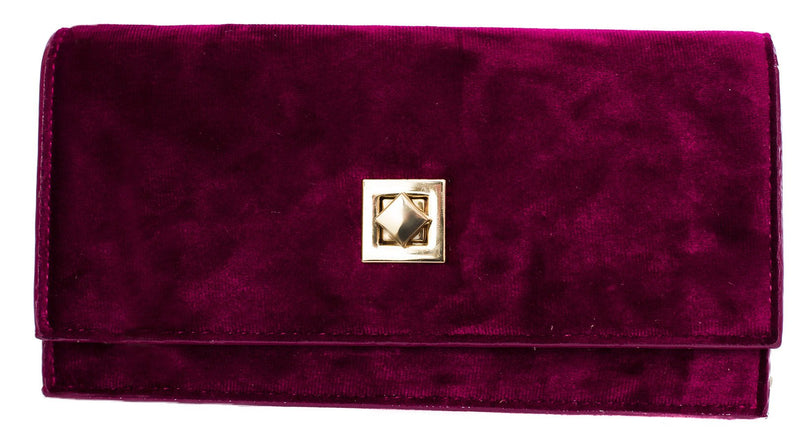 Mica Plum Velvet Purse With Gold Chain - Cherry Cherry