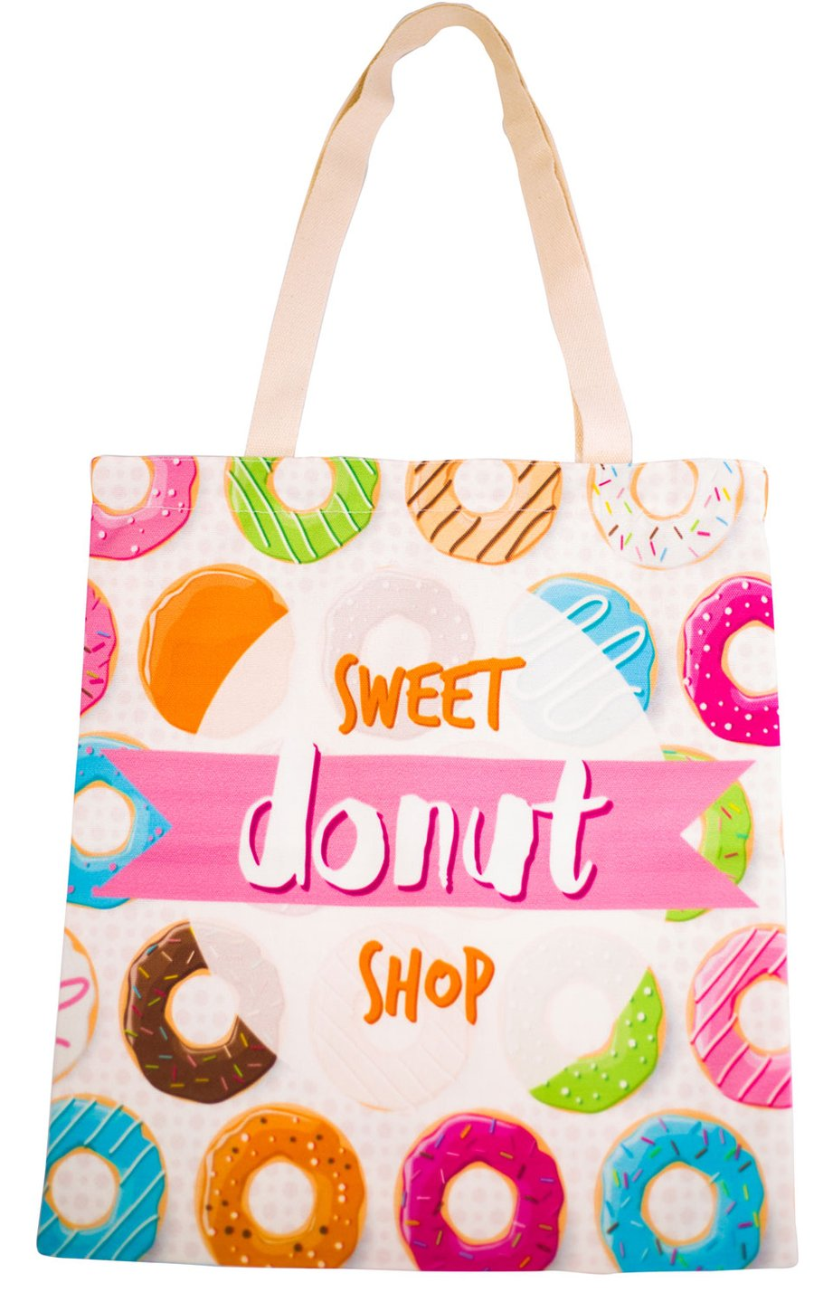 Sweet Donut Shop Tote Bag With Zipper - Cherry Cherry