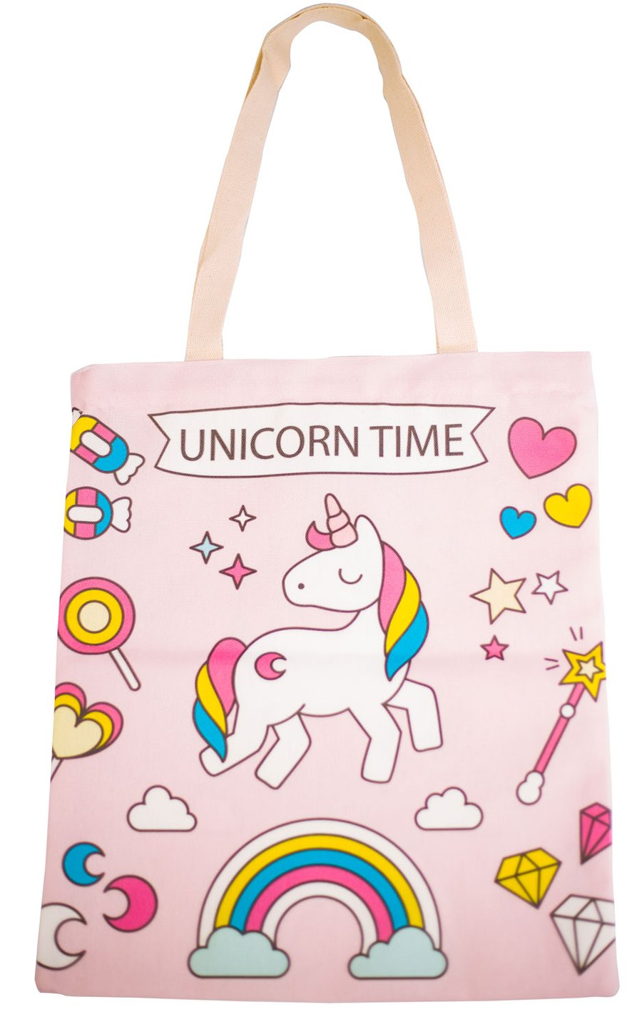 Unicorn Time Tote Bag With Zipper - Cherry Cherry