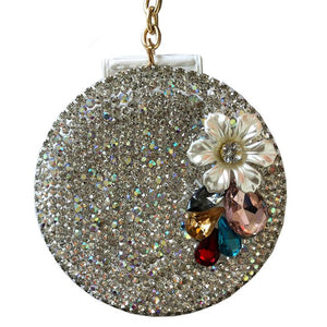 White Glam Glitter Mirror Key Charm