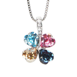 Multicoloured 4-Leaf Crystal Clover Necklace - Cherry Cherry