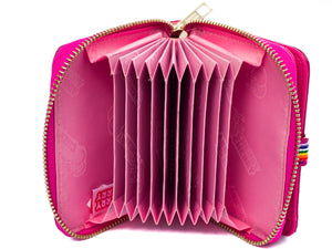Sarah Metallic Pink fold out fan purse. - Cherry Cherry