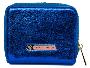 Shirley Metallic blue fold out fan purse. - Cherry Cherry