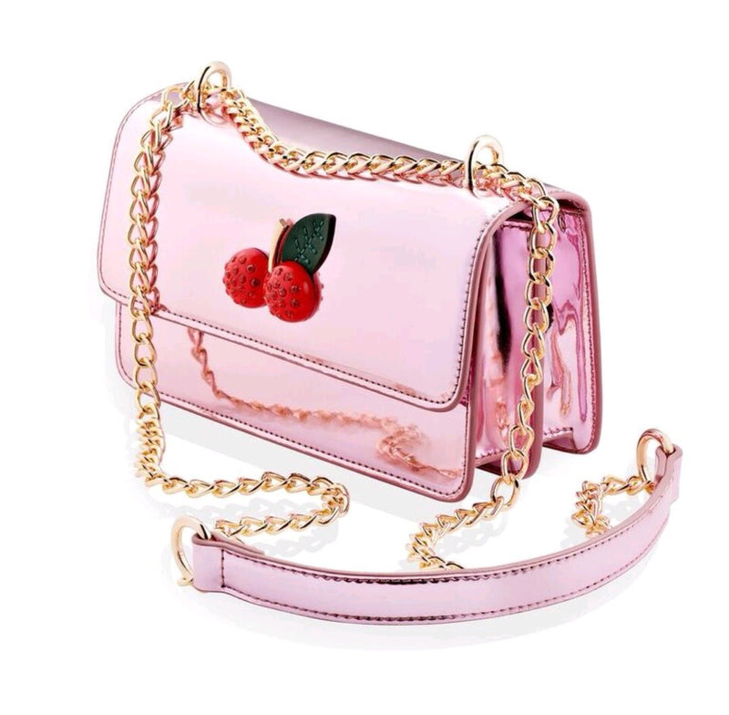 Abbie Metallic Cherry Cross Over Bag - Cherry Cherry