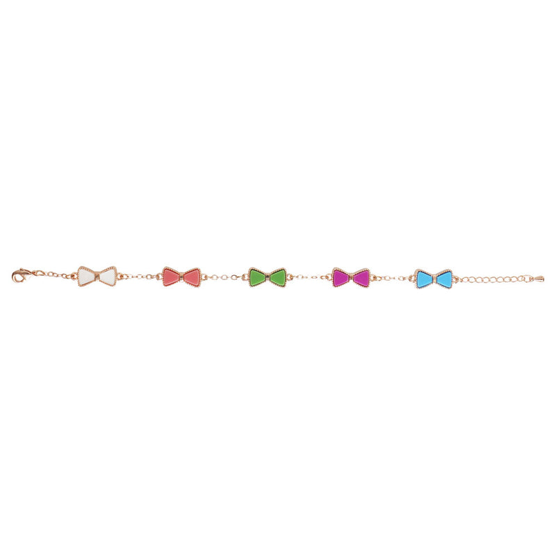 Rainbow Bowtie Bracelet in Rose Gold - Cherry Cherry