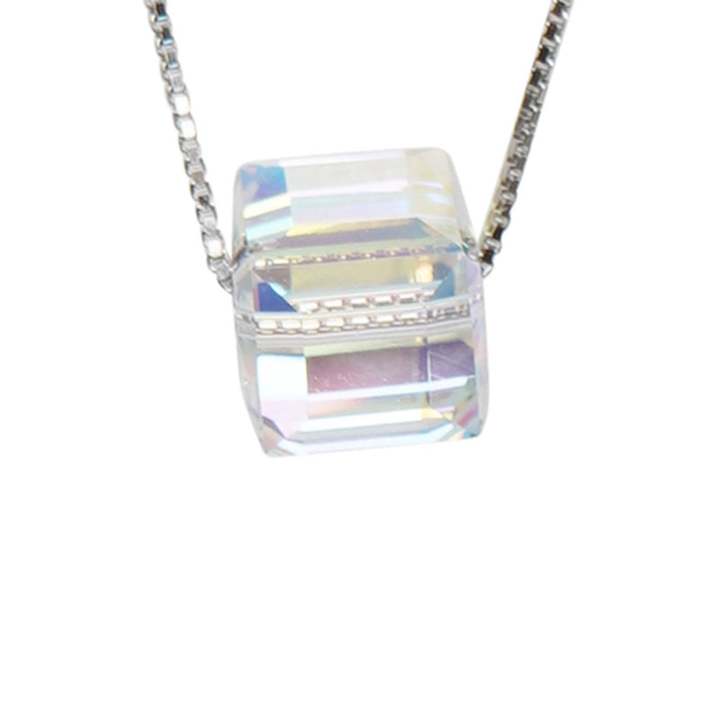 Square Crystal Necklace in Silver - Cherry Cherry