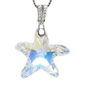 Starfish Crystal Necklace in Silver - Cherry Cherry