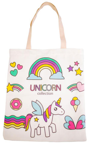 Unicorn Canvas Tote Bag with Zipper - Cherry Cherry
