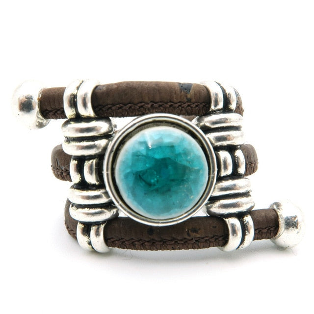 Natural Cork round blue ceramic stone ring Antique Sliver vintage women Ring original adjustable  wooden jewelry R-035