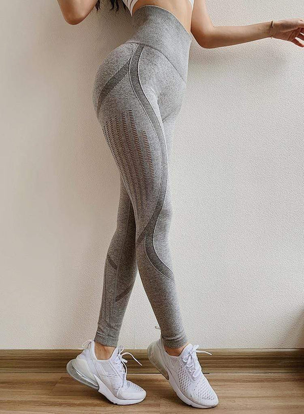 Chicloire Scrunch Butt Yoga Fitness Leggings Gray / L