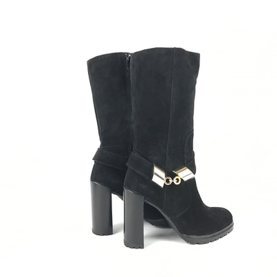 ladiesoflux - Stuart Weitzman Skipper Velour Boots Nero, Size 6.5 - Ladies Of Lux - Shoes
