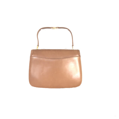 ladiesoflux - Gucci Vintage Tan Smooth Leather Top Handle Bag - Ladies Of Lux - Handbag