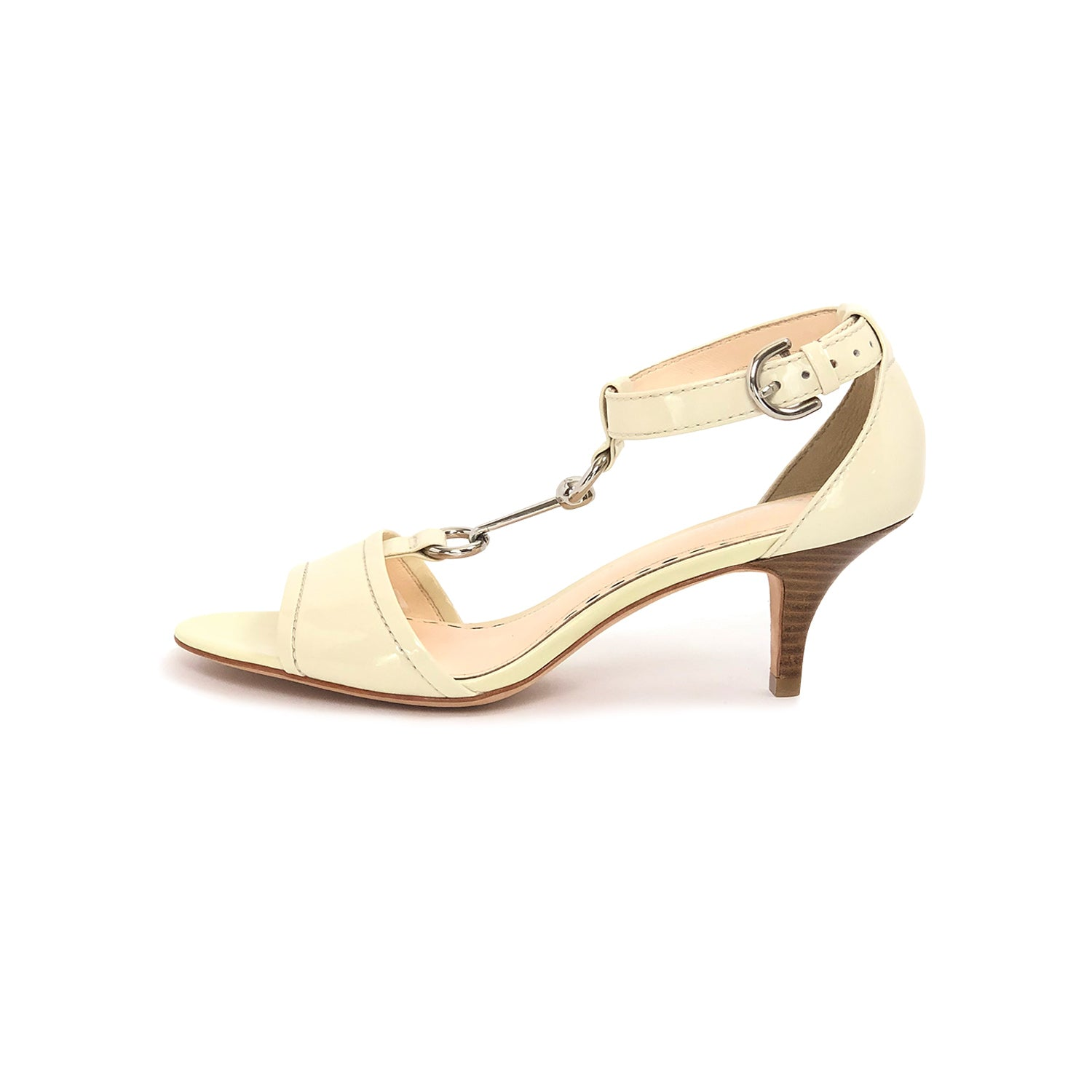 ladiesoflux - Coach Inez Patent T-Strap Sandal Ivory, Size 7B - Ladies Of Lux - Shoes