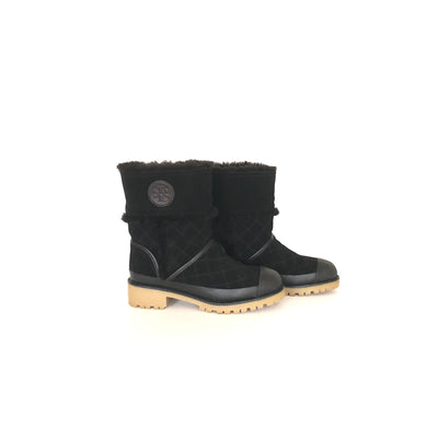 Tory Burch Boughton Shearling Bootie Black, Size 6