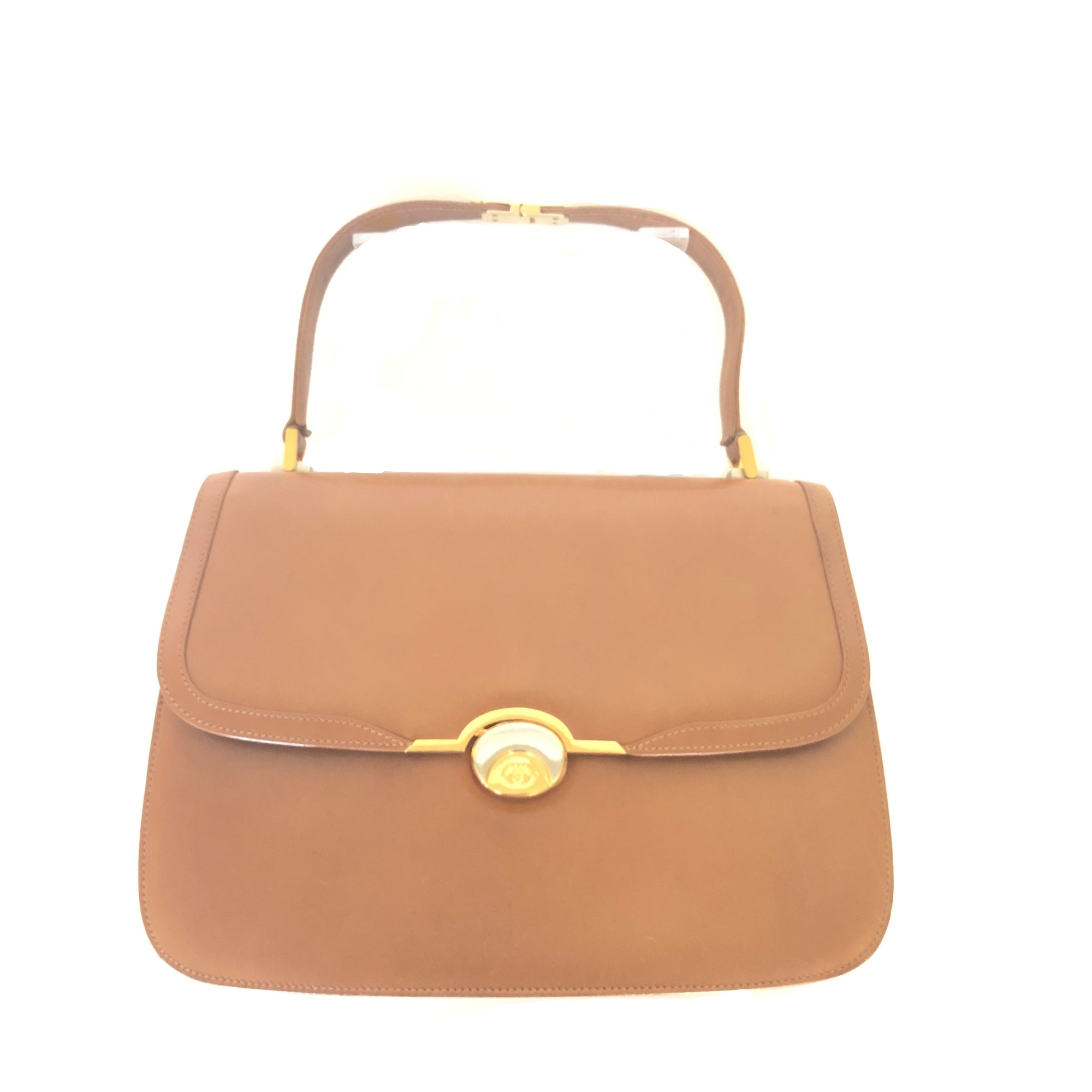 Gucci Vintage Tan Smooth Leather Top Handle Bag