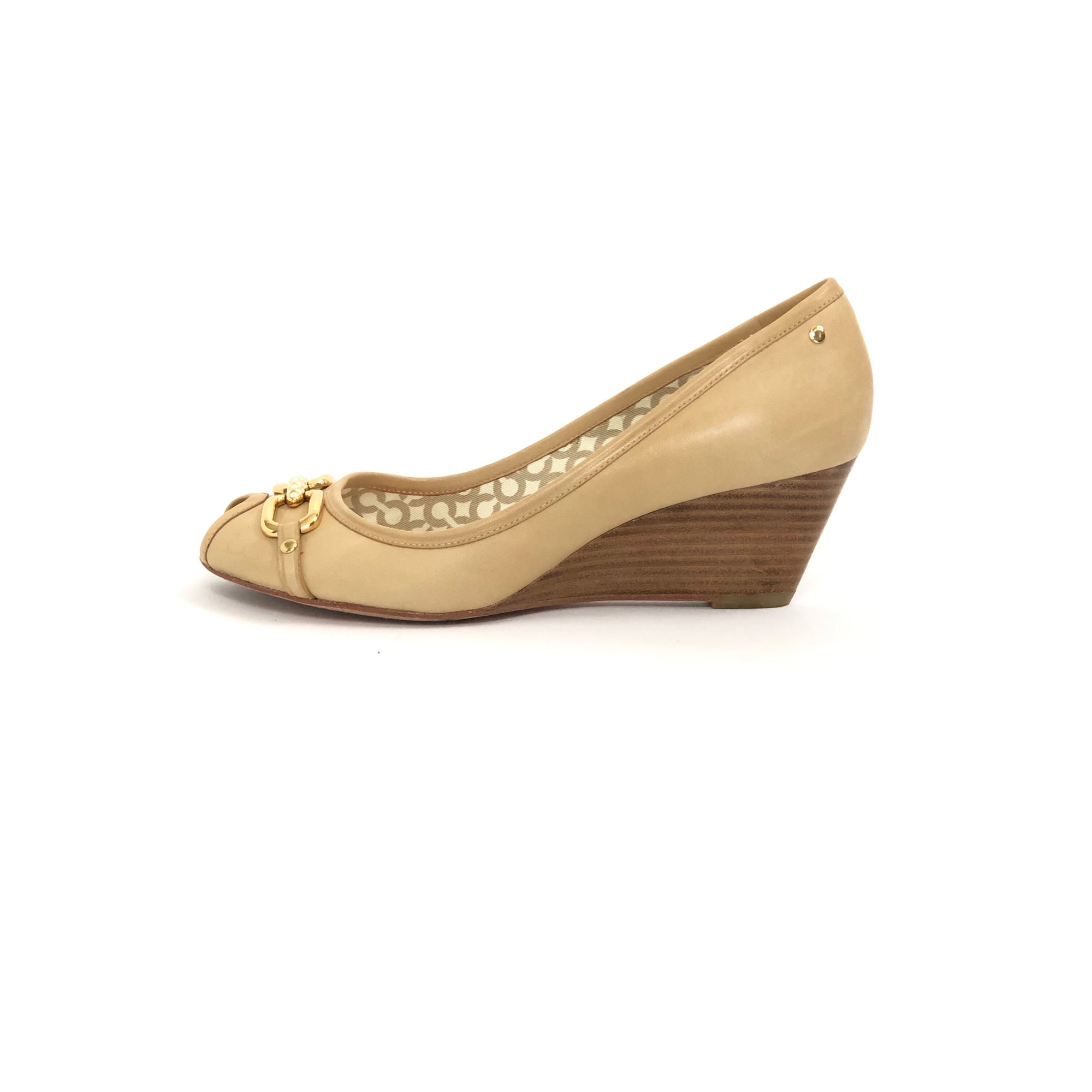 Coach Shelby Peep Toe Wedge Nude, Size 7