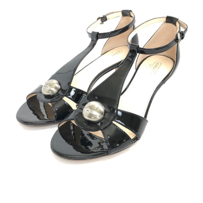 ladiesoflux - Coach Hellena Patent T-Strap Sandal Black, Size 7 - Ladies Of Lux - Shoes