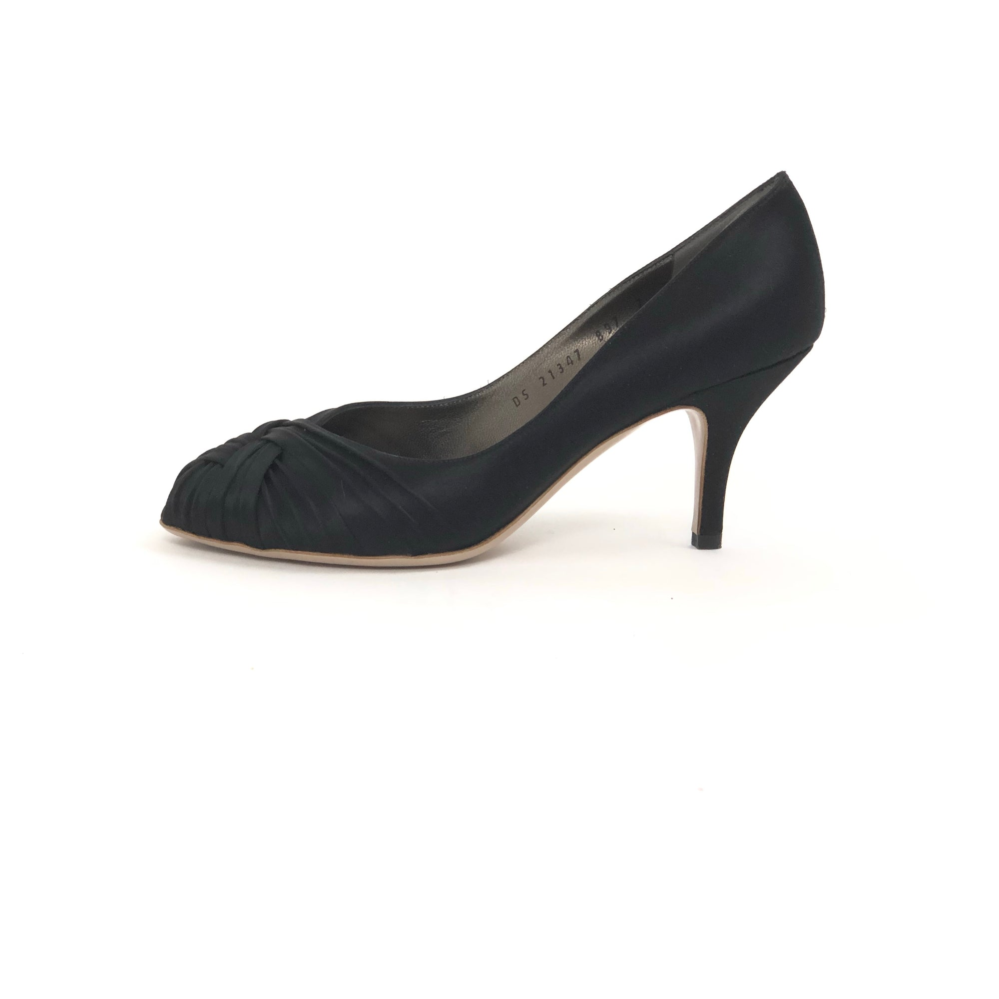 ladiesoflux - Salvatore Ferragamo Gaila 7cm Peep Toe Pump Black, Size 7 - Ladies Of Lux - Shoes
