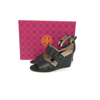 Tory Burch Perforated Gladiator Wedge Sandal Black, Size 6