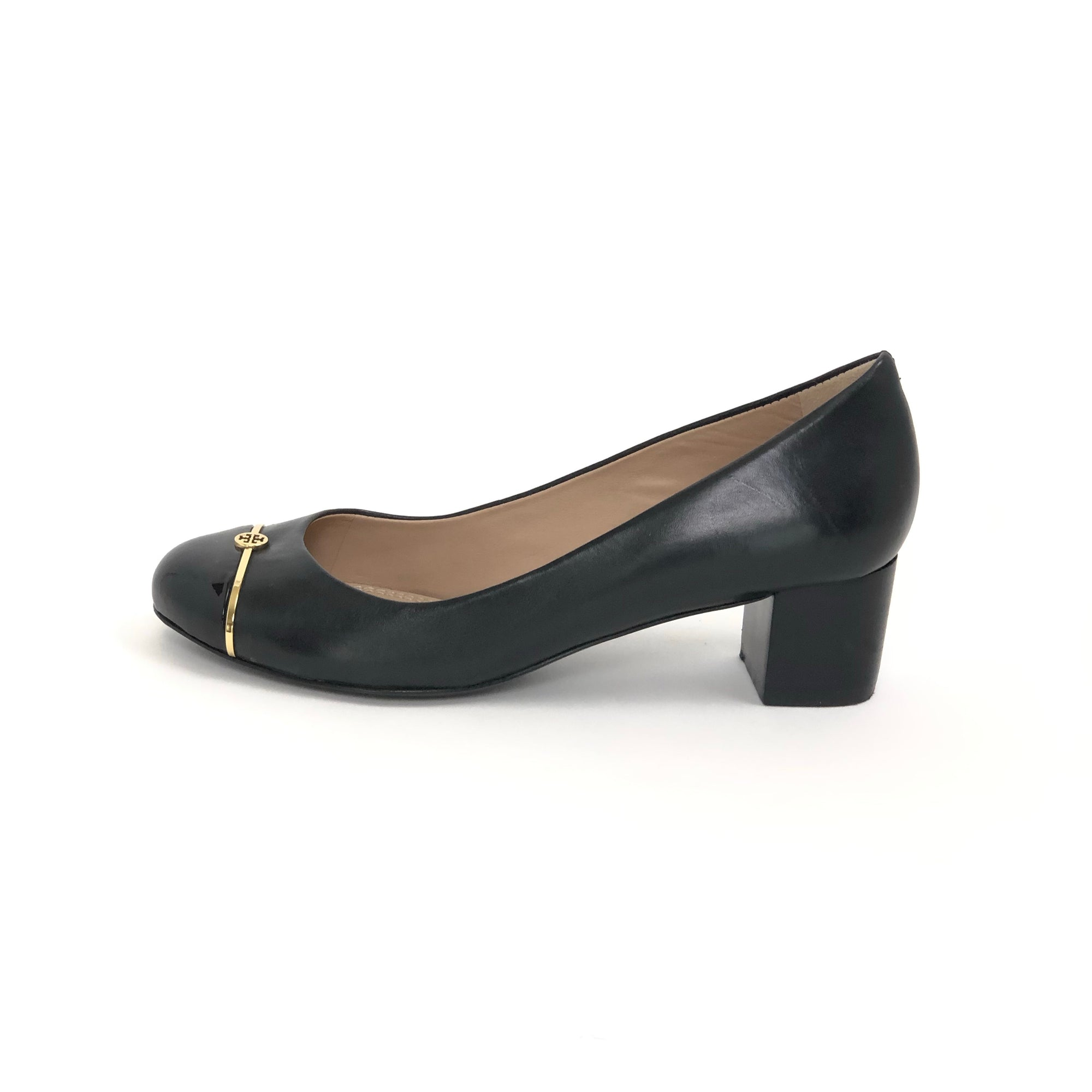 Tory Burch Pacey Cap-Toe Pump Black, Size 7