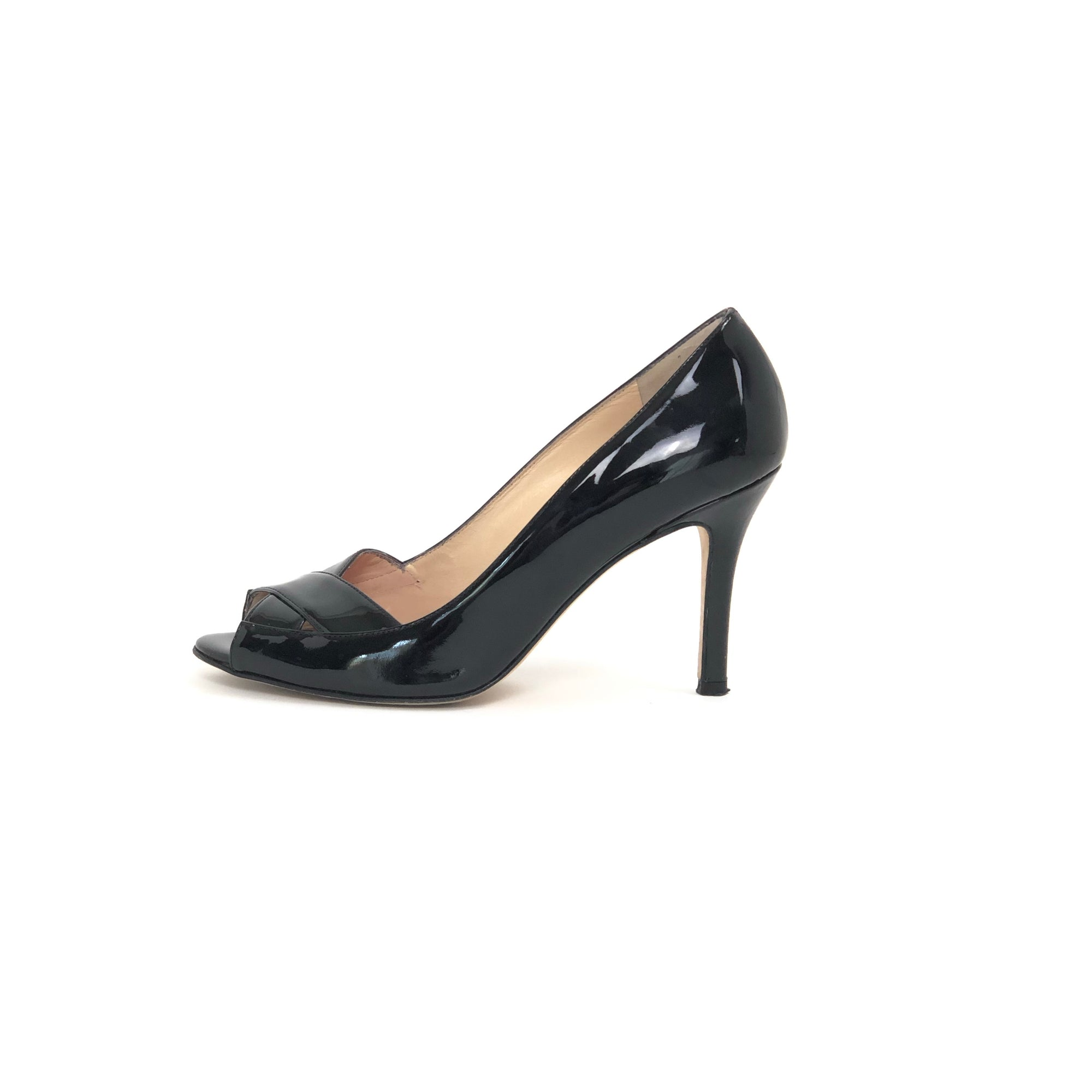 Kate Spade Gwennie Peep Toe Patent Pump Black, Size 7