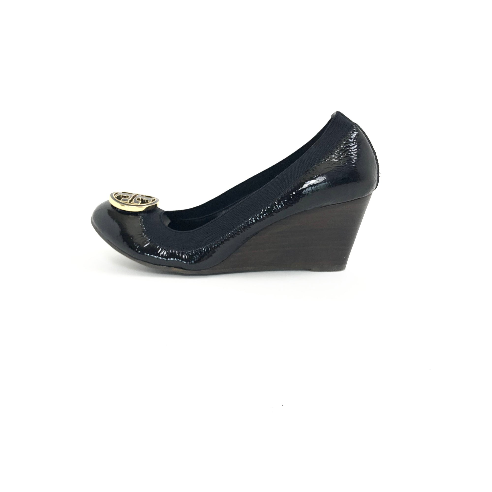Tory Burch Caroline Patent Wedge Black, Size 7