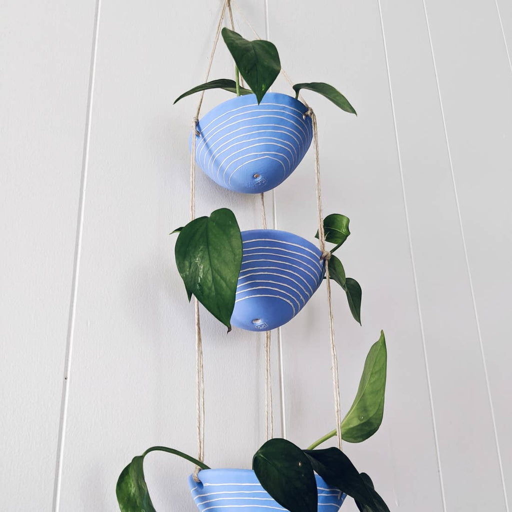 3-Tiered Hanging Planter in Blue & White 'Horizon Line'