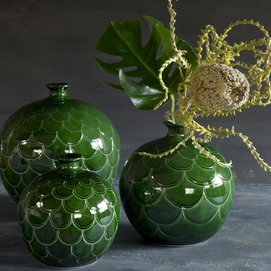 Green Emerald Glazed Misty Vase - Bergs Potter