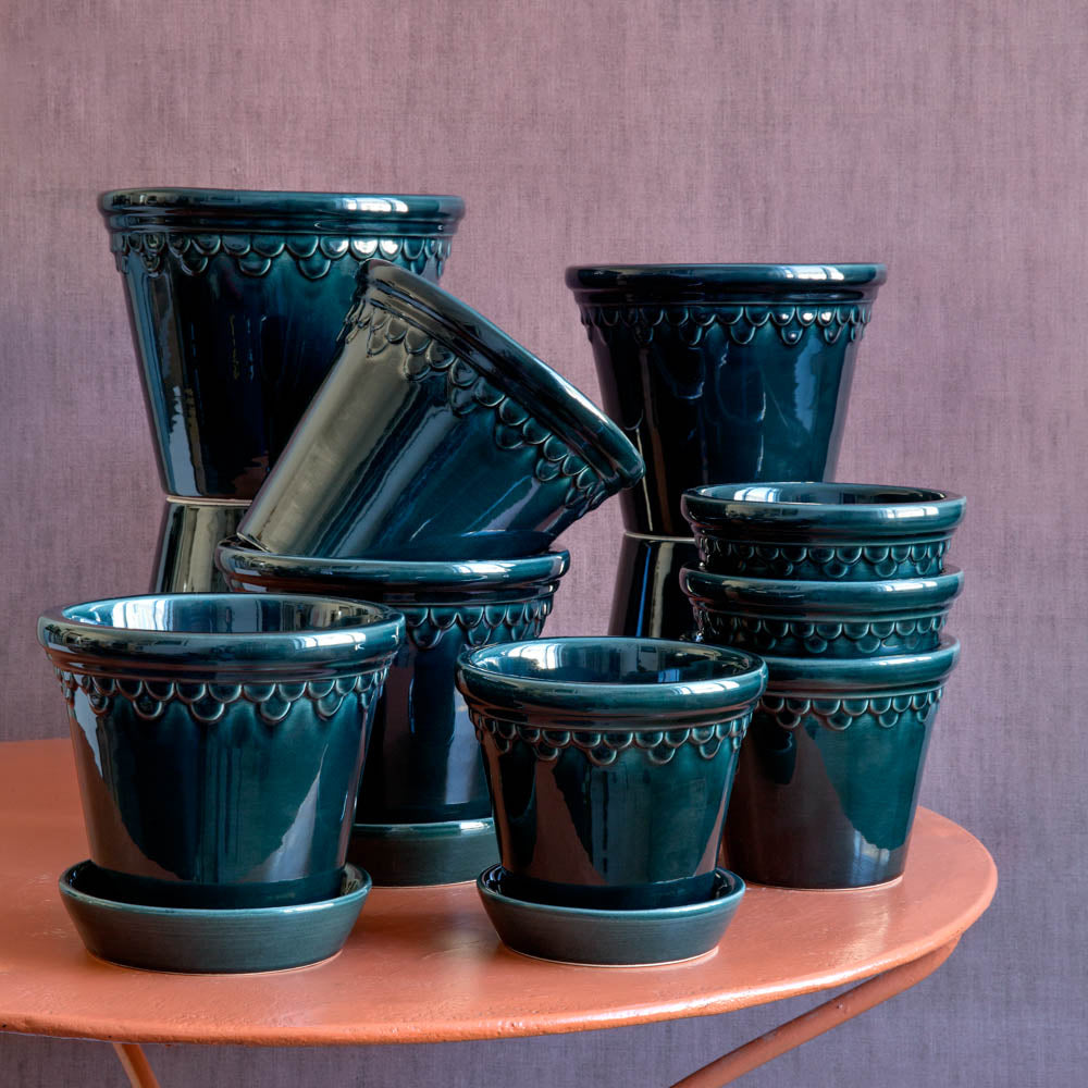 3in-10in Blue Glazed Castle Pot - Bergs Potter