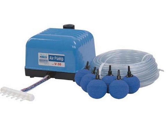 Aqua Forte Air pump Flow V-10 SET (with line / stones) - Selective Koi Sales