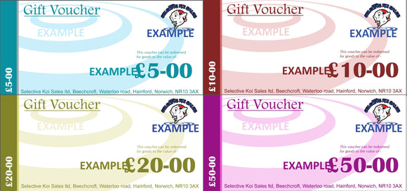 Gift Vouchers (Can only be used in our shop and not online)