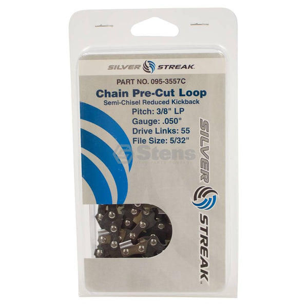 "Chainsaw Chain Loop Clamshell 55 DL 3/8"" LP, .050, S-Chis Reduced Kick (Stens 095-3557C)"