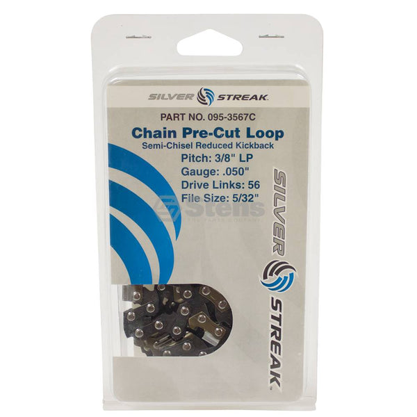 "Chainsaw Chain Loop Clamshell 56 DL 3/8"" LP, .050, S-Chis Reduced Kick (Stens 095-3567C)"
