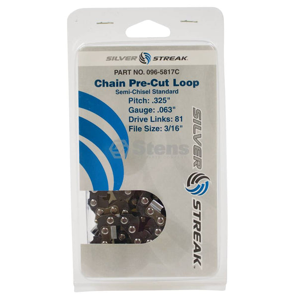 "Chainsaw Chain Loop Clamshell 81 DL .325"", .063, S-Chisel Standard (Stens 096-5817C)"